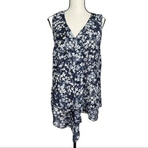 Vera Wang Floral Sleeveless Draped Top Size XL
